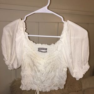 Urban Outfitters Tops - UO white cinched puff sleeve top